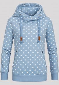 Sweatshirt naketano coeur motif à capuche manches longues décontracté femme pull bleu clair