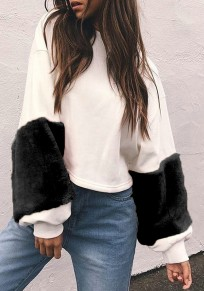 White Patchwork Black Fur Long Sleeve Round Neck Fashion Sweatshirt
