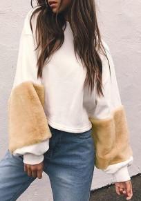 White Patchwork Khaki Fur Long Sleeve Round Neck Fashion Sweatshirt