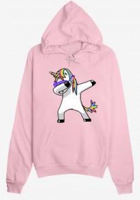 La camiseta estampado de unicornio cordón bolsillos la camiseta con capucha rosa