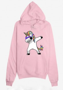 Pink Unicorn Print Drawstring Pockets Fashion Pullover Hooded Sweatshirt