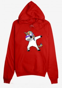 Red Unicorn Print Drawstring Pockets Fashion Pullover Hooded Sweatshirt