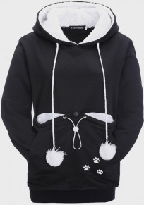 Black Pockets Drawstring Buttons Fur Ball Cat Carrier Pet Pouch Hooded Cute Pullover Sweatshirt