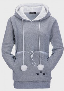 Grey Pockets Drawstring Buttons Fur Ball Cat Carrier Hooded Cute Pullover Sweatshirt