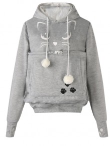 Light Grey Cat Print Pockets Drawstring Cat Footprints Dog Carrier Hoodie Pullover Sweatshirt