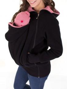 Sweatshirt à rayé kangourou porte-bébé poches fermeture éclair à capuche décontracté femme vestes noir