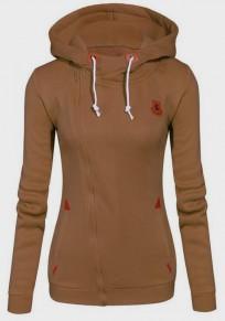 Khaki Drawstring Zipper Pockets Hooded Sports Casual Cardigan Sweatshirt