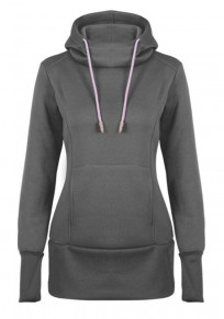 Dark Grey Drawstring Pockets Hooded Casual Pullover Long Sweatshirt