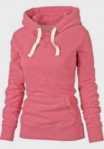 Pink Pockets Drawstring Hooded Long Sleeve Pullover Sweatshirt