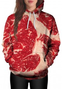Red Streaky Pork Pattern Pockets Drawstring Long Sleeve Hoodie Sweatshirt