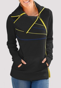 Black Irregular Zipper Pockets Turndown Collar Casual Pullover Sweatshirt