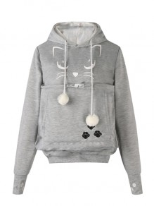 Grey Drawstring Embroidery Pockets Fur Ball Cat Carrier Hooded Sweet Pullover Sweatshirt