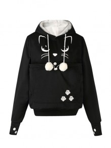Black Drawstring Embroidery Pockets Fur Ball Hooded Sweet Pullover Sweatshirt
