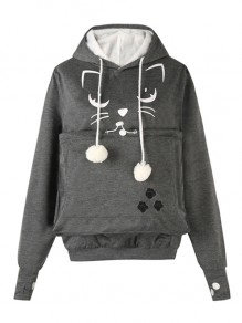 Dark Grey Drawstring Embroidery Pockets Fur Ball Hooded Sweet Pullover Sweatshirt