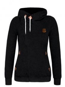 Sweatshirt naketano soldes à capuche pull manches longues lâche décontracté femme noir