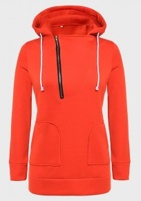 Red Drawstring Zipper Pockets Hooded Long Sleeve Pullover Sweatshirt