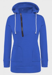 Blue Drawstring Zipper Pockets Hooded Long Sleeve Pullover Sweatshirt