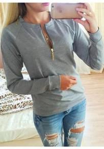 Grau Reißverschluss Rundhals Langarm Oversize Pullover Damen Beiläufige Sweatshirt Günstig