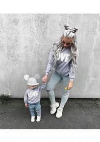 Grey Letter Print Round Neck Fashion Pullover Sweatshirt