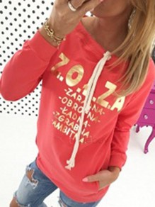 Red Belt Round Neck Long Sleeve Fashion Pullover Sweatshirt