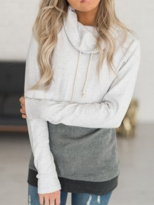 Grey Color Block Drawstring Hooded Casual Sweatshirt