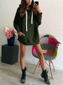 Green Ribbons Pockets Hooded Long Sleeve Casual Sweatshirt