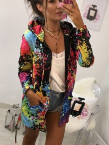 Black Colorful Print Drawstring Pockets Fashion Cardigan Hooded Sweatshirt