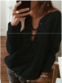 Black Drawstring Round Neck Fashion Pullover Sweatshirt