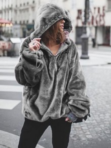 Grey Drawstring Irregular Long Sleeve Thin Hooded Sweatshirt