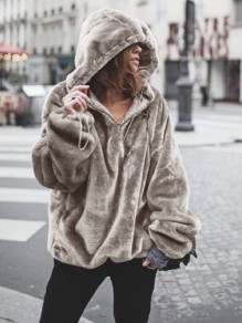 Light Brown Drawstring Irregular Long Sleeve Thin Hooded Sweatshirt