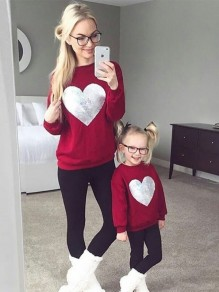 Red Patchwork Sequin Round Neck Long Sleeve Casual Baby Sweatshirt