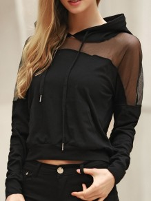 Black Patchwork Grenadine Drawstring Pockets Long Sleeve Hooded Sweatshirt