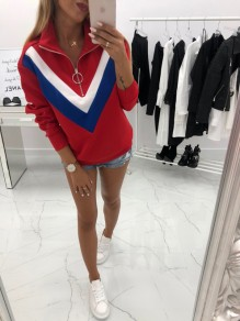 Red Color Block Zipper Band Collar Fashion Sweatshirt