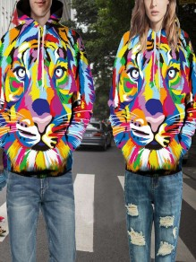 Multicolor Tiger Froal 3D Printing Pockets Couple wear Oversize Streetwear Fashion Hooded Sweatshirt