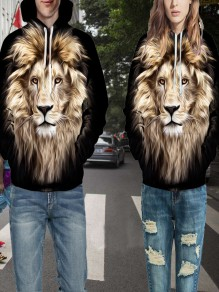 Multicolor Lion Froal 3D Printing Pockets Couple wear Oversize Streetwear Fashion Hooded Sweatshirt