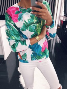 Multicolor Floral Round Neck Long Sleeve Fashion Sweatshirt