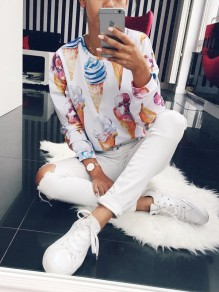 White Ice Cream Print Long Sleeve Fashion Sweatshirt