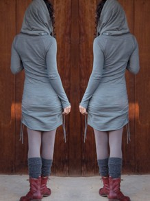 Blue Patchwork Drawstring Hooded Long Sleeve Casual Sweater