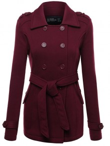 Wine Red Buttons Belt Turndown Collar Long Sleeve Fashion Sweatshirt