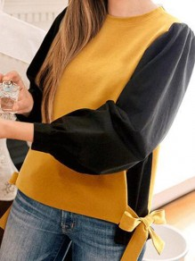 Yellow Patchwork Bow Going out Casual Cardigan Sweatshirt
