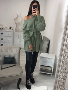 Army Green Cut Out Sashes Long Sleeve Fashion Pullover Sweatshirt