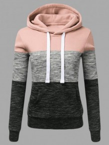 Pink Color Block Drawstring Pockets Hooded Long Sleeve Casual Sweatshirt