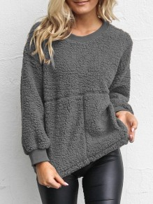 Grey Long Sleeve Round Neck Casual Sweet Going out Sweatshirt