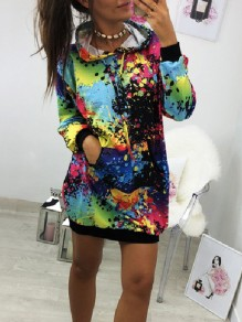 Black Floral Drawstring Pockets Fashion Hooded Sweatshirt