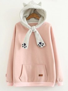 Pink Pockets Bow Hooded Fashion Sweatshirt