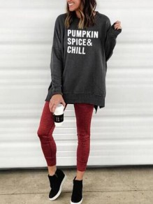 Grey-White Monogram Pumpkin Spice Chill Pattern Double Slit Halloween Oversized Casual Pullover Sweatshirt