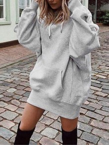 Grey Drawstring Pockets Hooded Long Sleeve Casual Sweatshirt