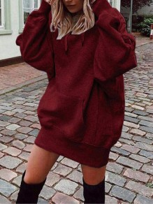 Wine Red Drawstring Pockets Hooded Long Sleeve Casual Sweatshirt