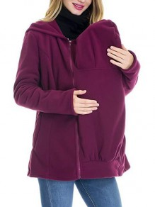 Purple Zipper Pockets Hooded Long Sleeve Casual Sweatshirt