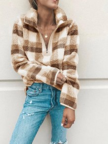 Apricot-Coffee Plaid Zipper V-neck Fur Fazzy Turndown Collar Casual Sweatshirt